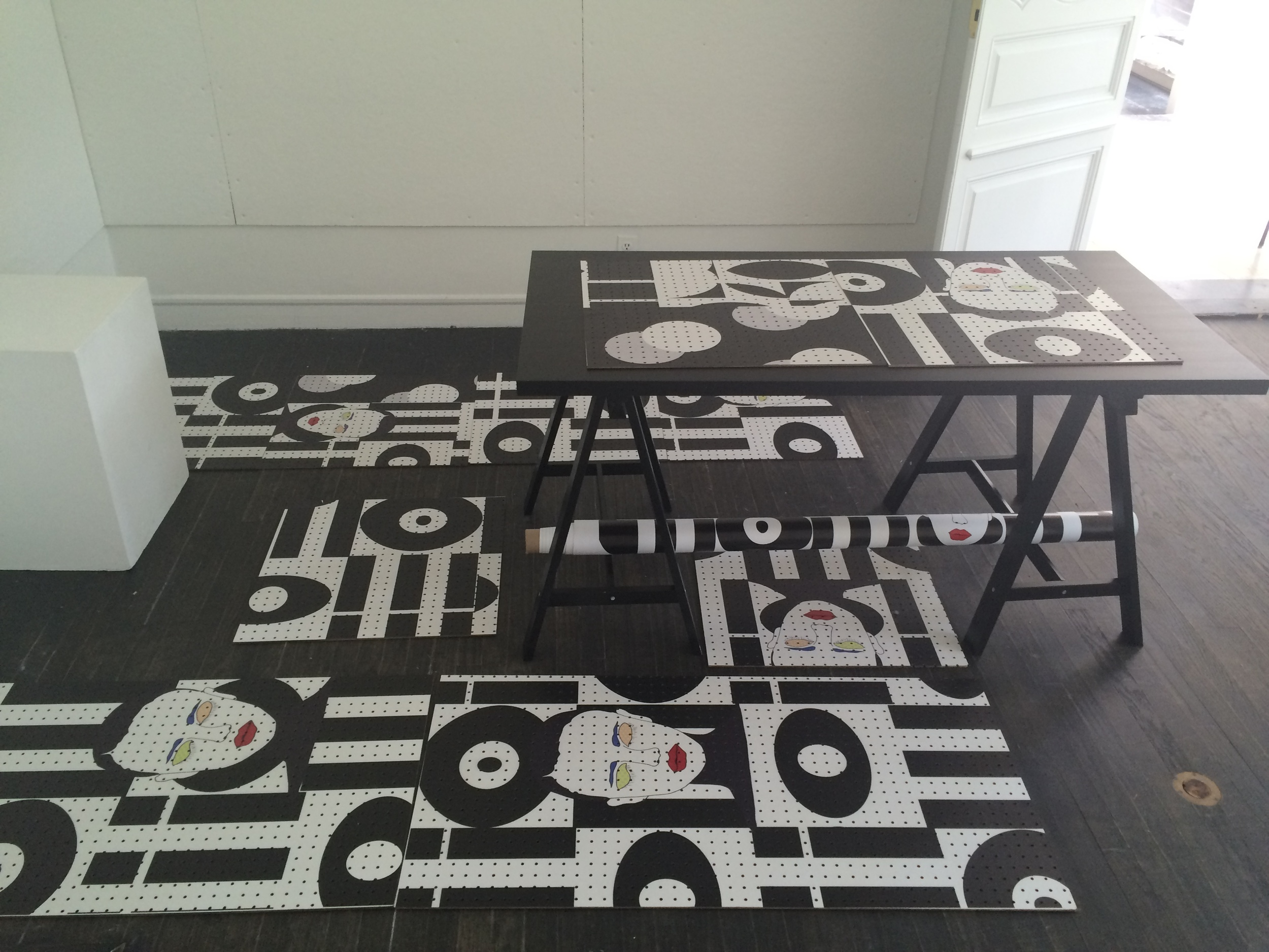 I printed on peg boards for a wall covering idea for FRIZZ handbag brand pop-up shop.