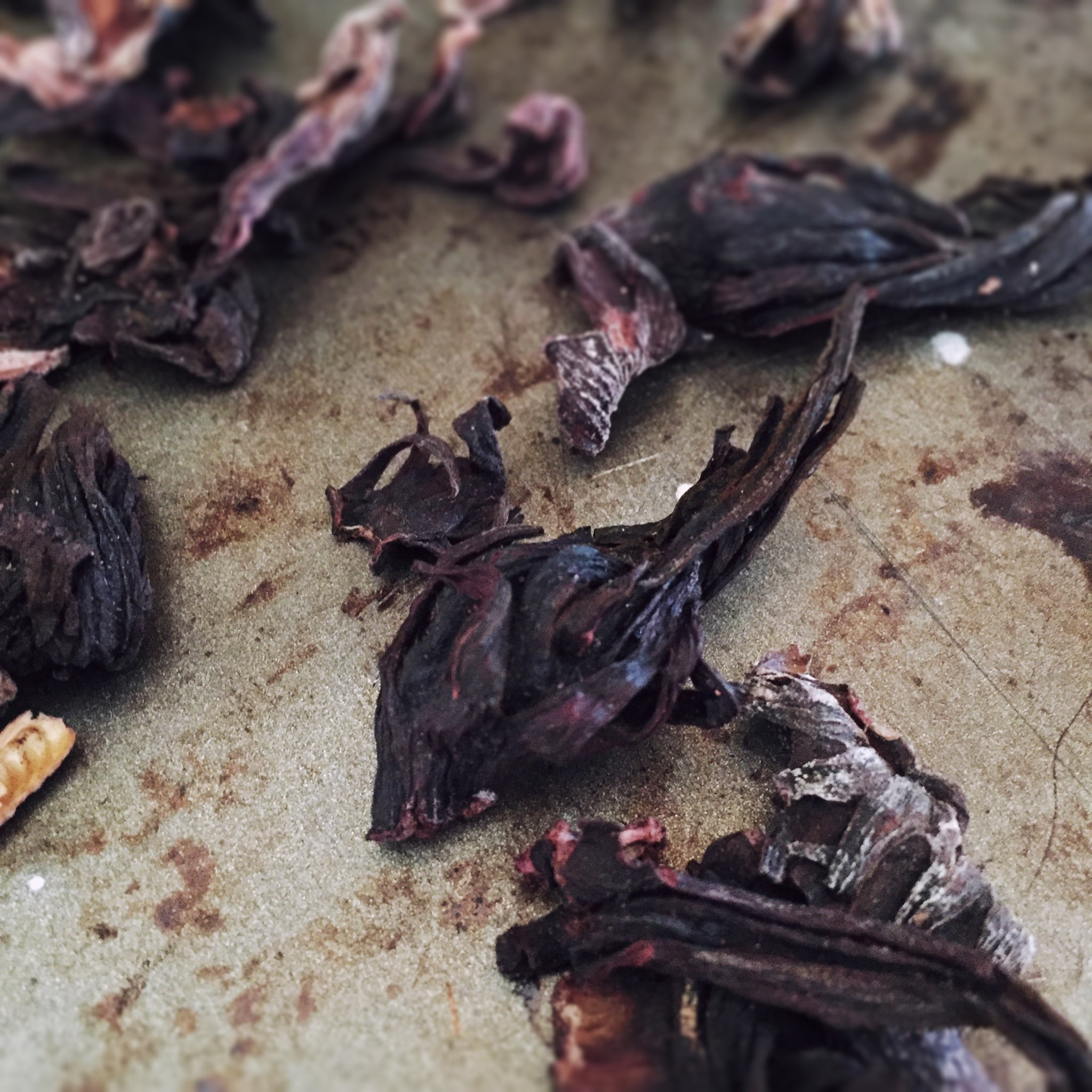 Dried hibiscus flowers are pretty and pretty tasty.