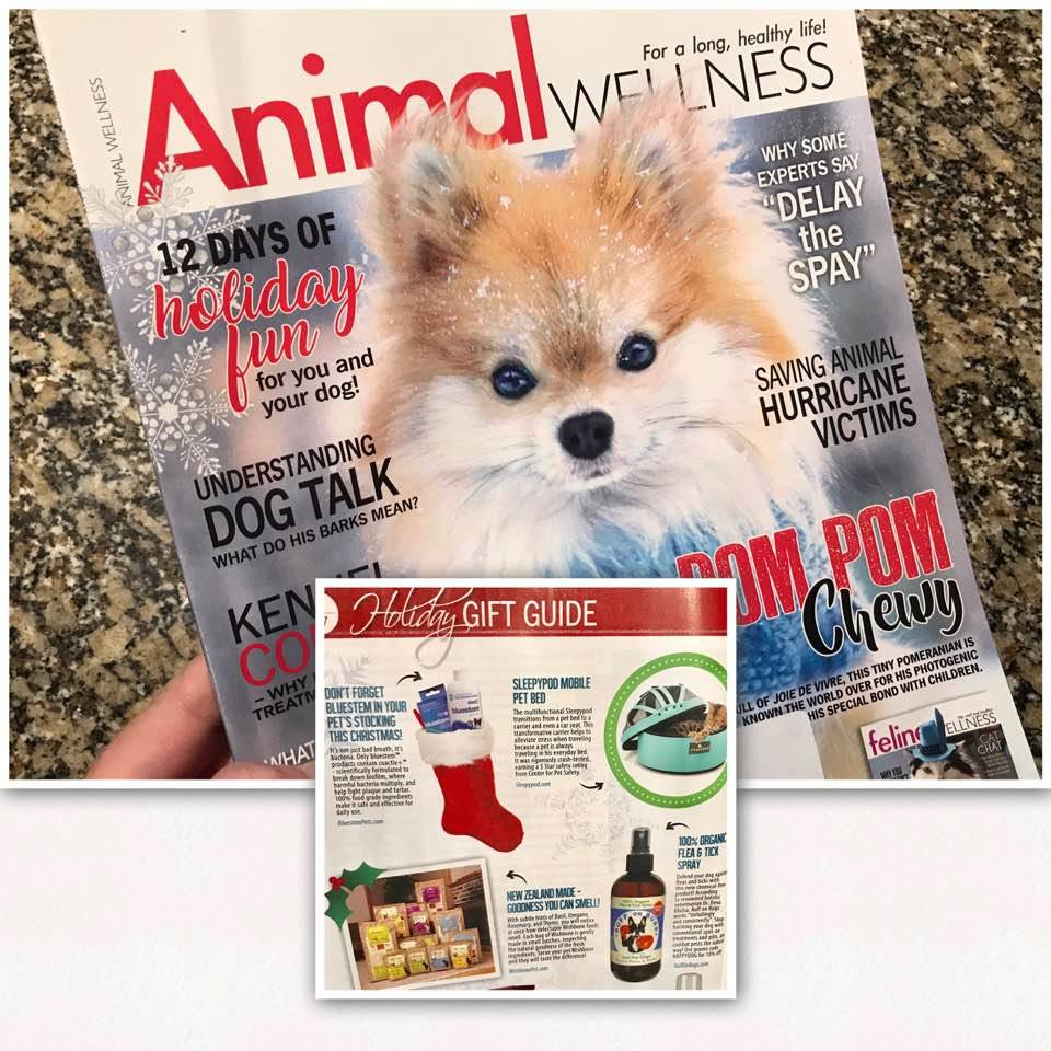 Animal Wellness magazine - 2017 Holiday Gift Guiderecommending Ruff on Bugs