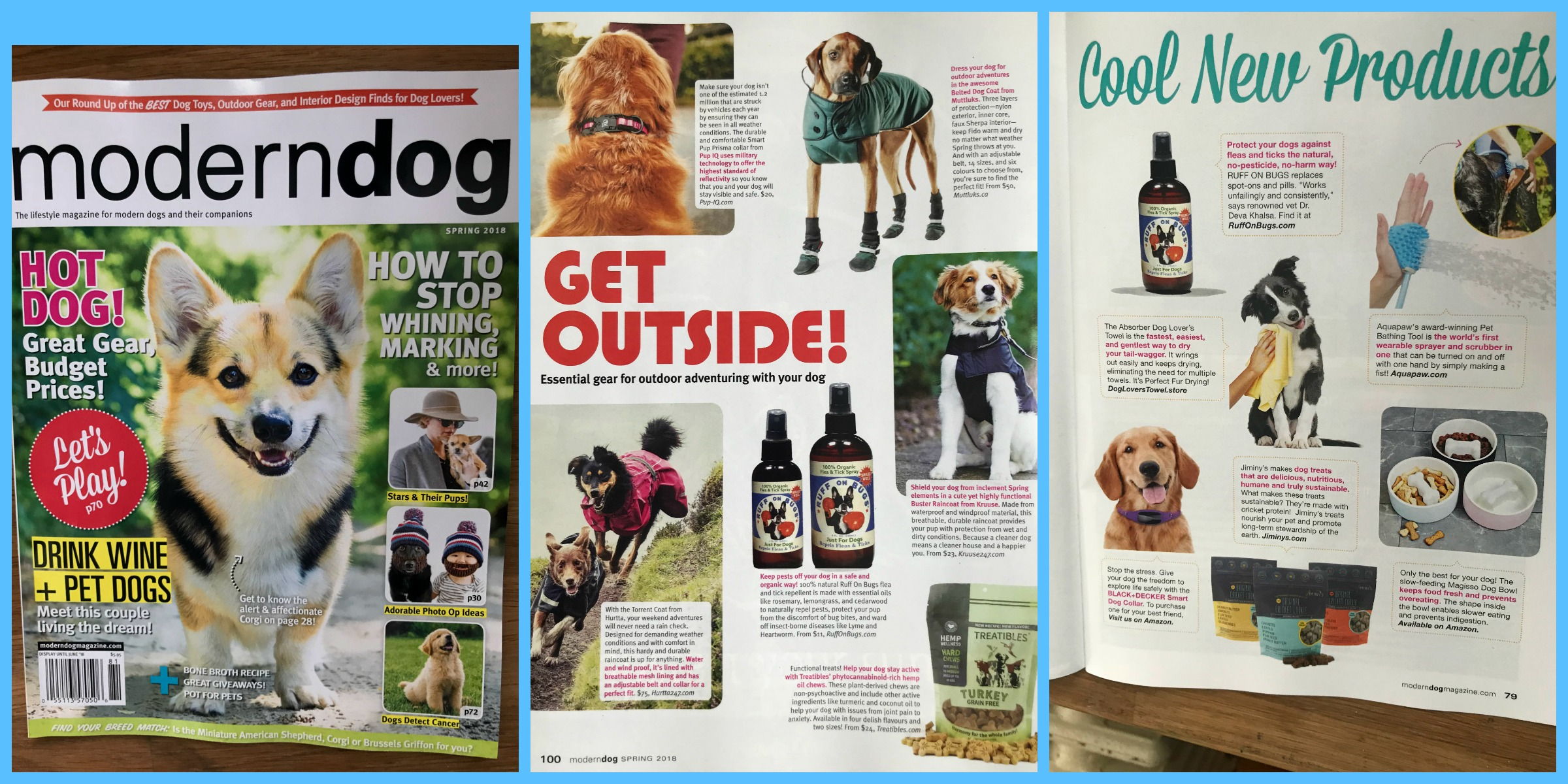 "Recommended in ""Essential gear for outdoor adventuring with your dog!"" and ""COOL NEW PRODUCTS""!"