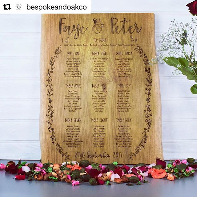 We love this from @bespokeandoakco - an incredible #tableplan that you could keep and display forever 💕💍👰🏻 #quirkynuptials #weddingblogger #weddingblog #wedding #decor #bespoke