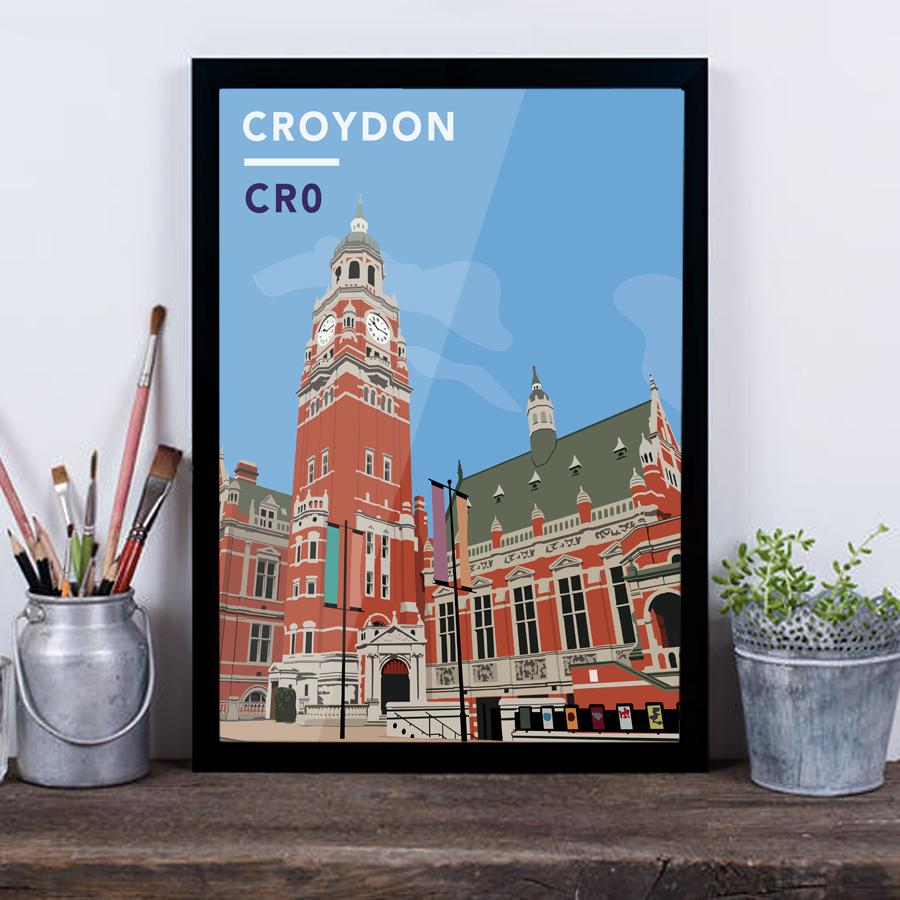 Croydon Clock Tower And Town Hall CR0 - Giclée Art Print -