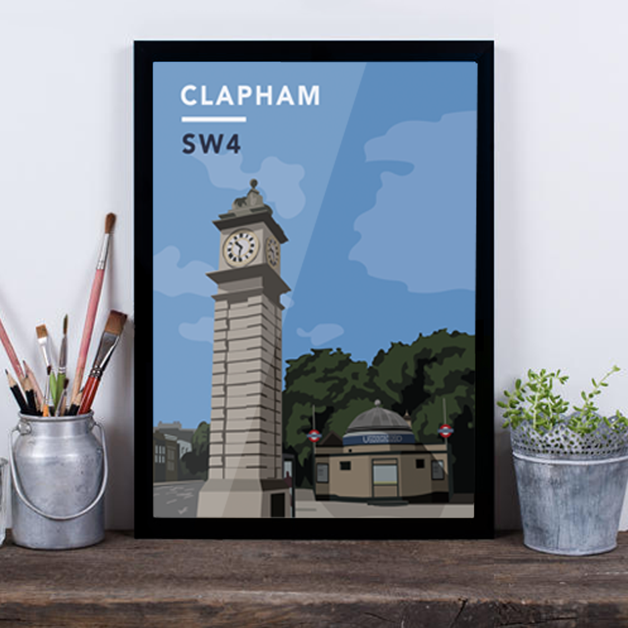 Clapham Clock Tower And Underground Station SW4 - Giclée Art Print -