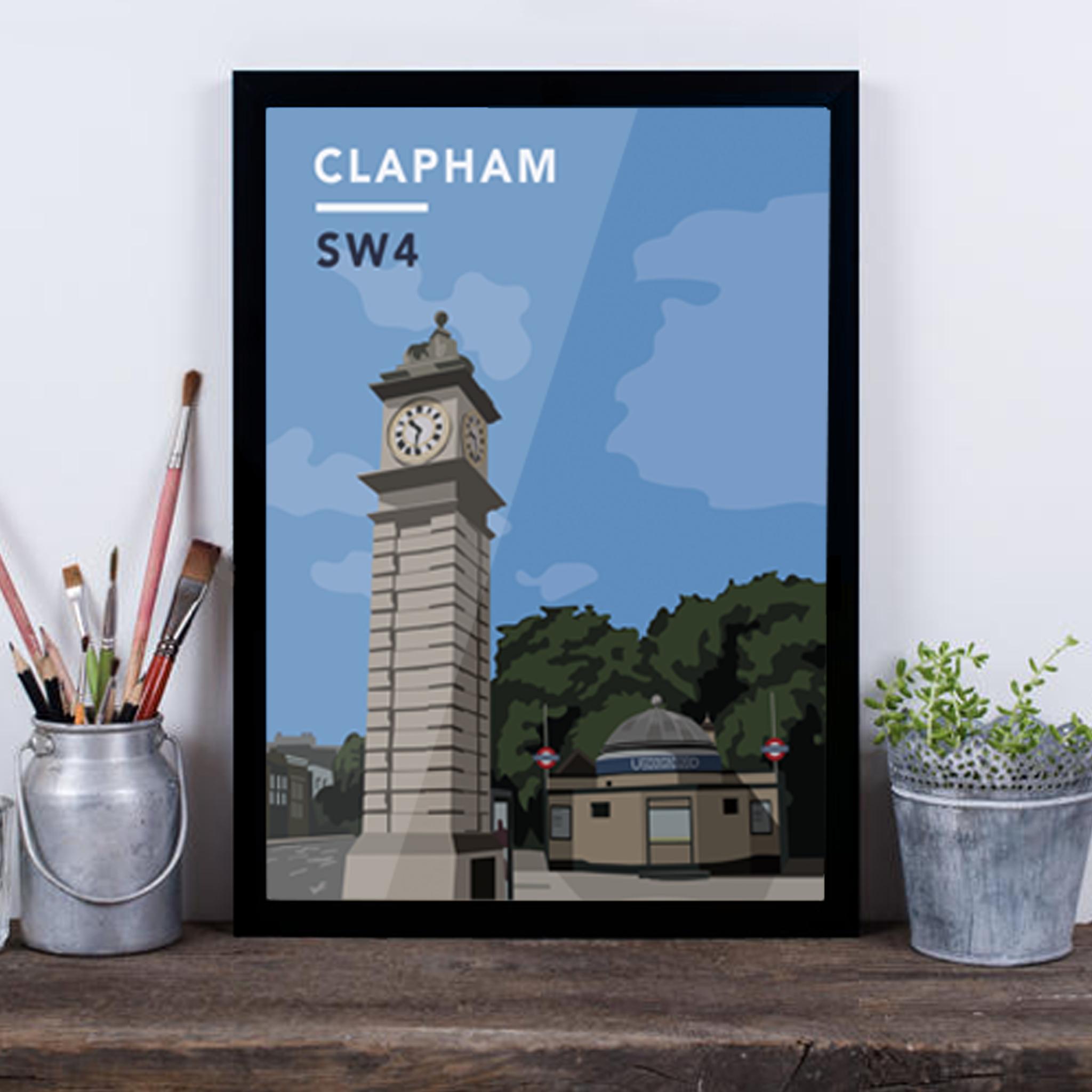 Clapham Clock Tower And Underground Station SW4 - Giclée Art Print -