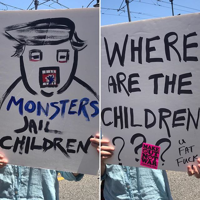 Signs by @adellelutz #dtla #marchagainstdeportation #stopseparatingfamilies