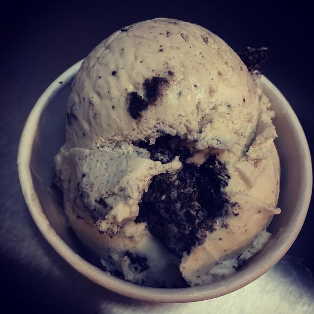 """Light it up blueberry!"" Maine blueberry ice cream with crushed Oreos and a marshmallow swirl! #holycowct #autismawareness #icecream #homemade #newtown"