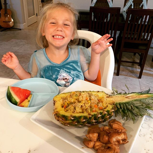 Love seeing happy faces enjoying one of my favorite family recipes! #pineapple #friedrice #squirmywormybooks  Check out the recipe in my link!