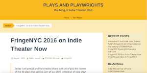 Indie Theater Now's announcement that The Illusory Adventures of a Dreamer will be published as part of its 2016 FringeNYC Play Collection (August 1, 2016)