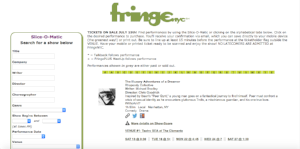 Show listing on the FringeNYC website