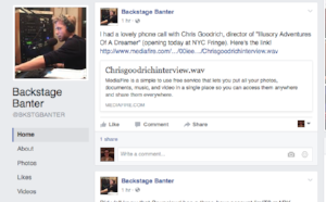 Interview with director Chris Goodrich for Backstage Banter (August 13, 2016)