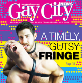 Actors Nick Cocchetto and Austin Boykin Jennings featured on the cover of Gay City News (August 4, 2016)