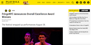 """Actor Taylor Turner featured on Playbill.com to celebrate his win for """"Overall Excellence in Acting"""" (August 29, 2016)"""