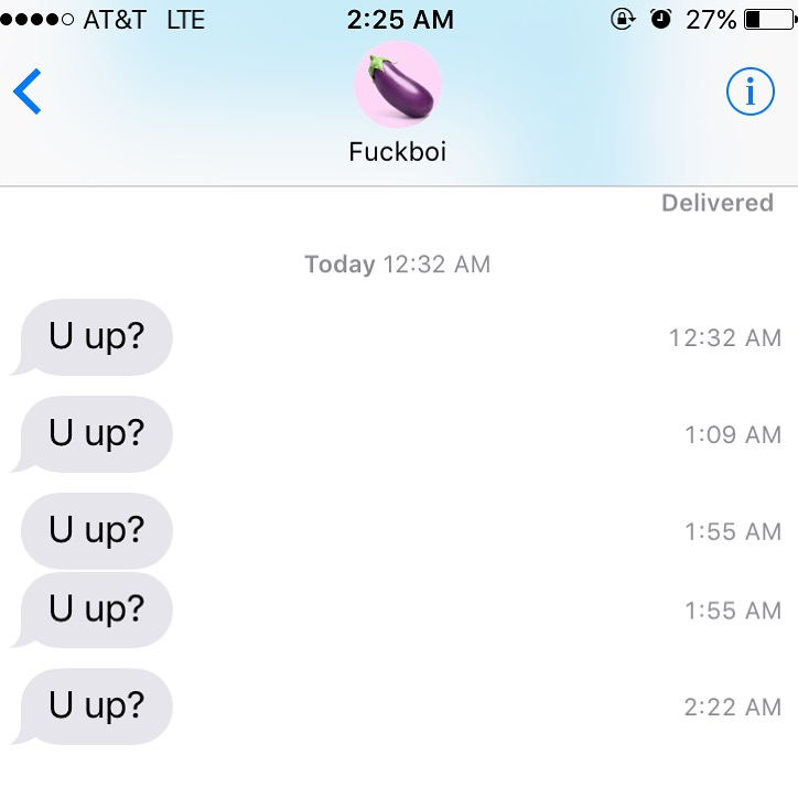 "On the fifth day of Christmas, my fuckboi gave me five consecutive ""you up?"" texts..."