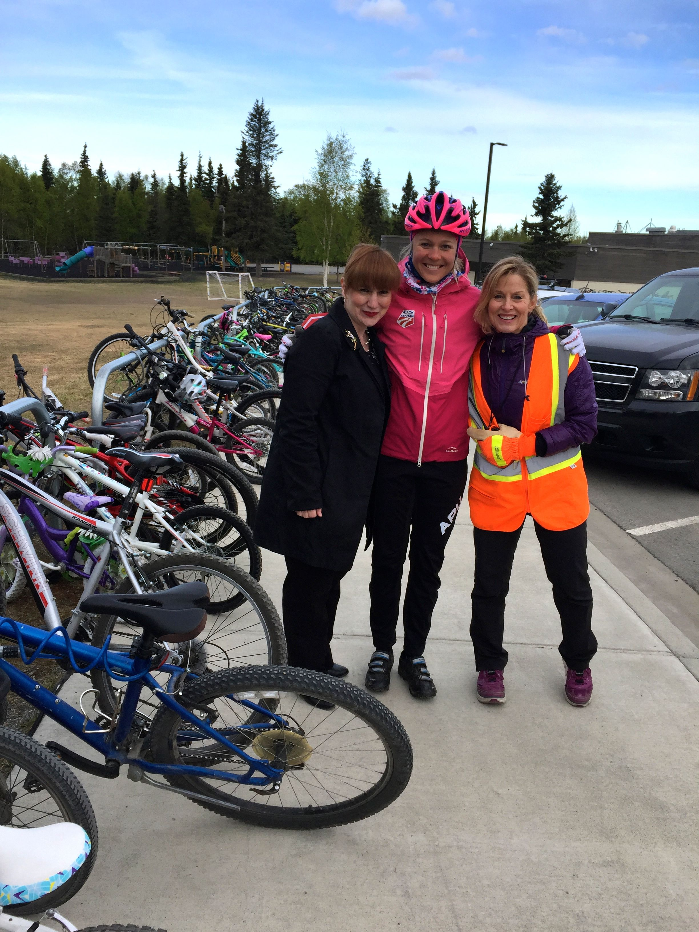 Helping direct traffic and bikers for Anchorage Bike to School Day.