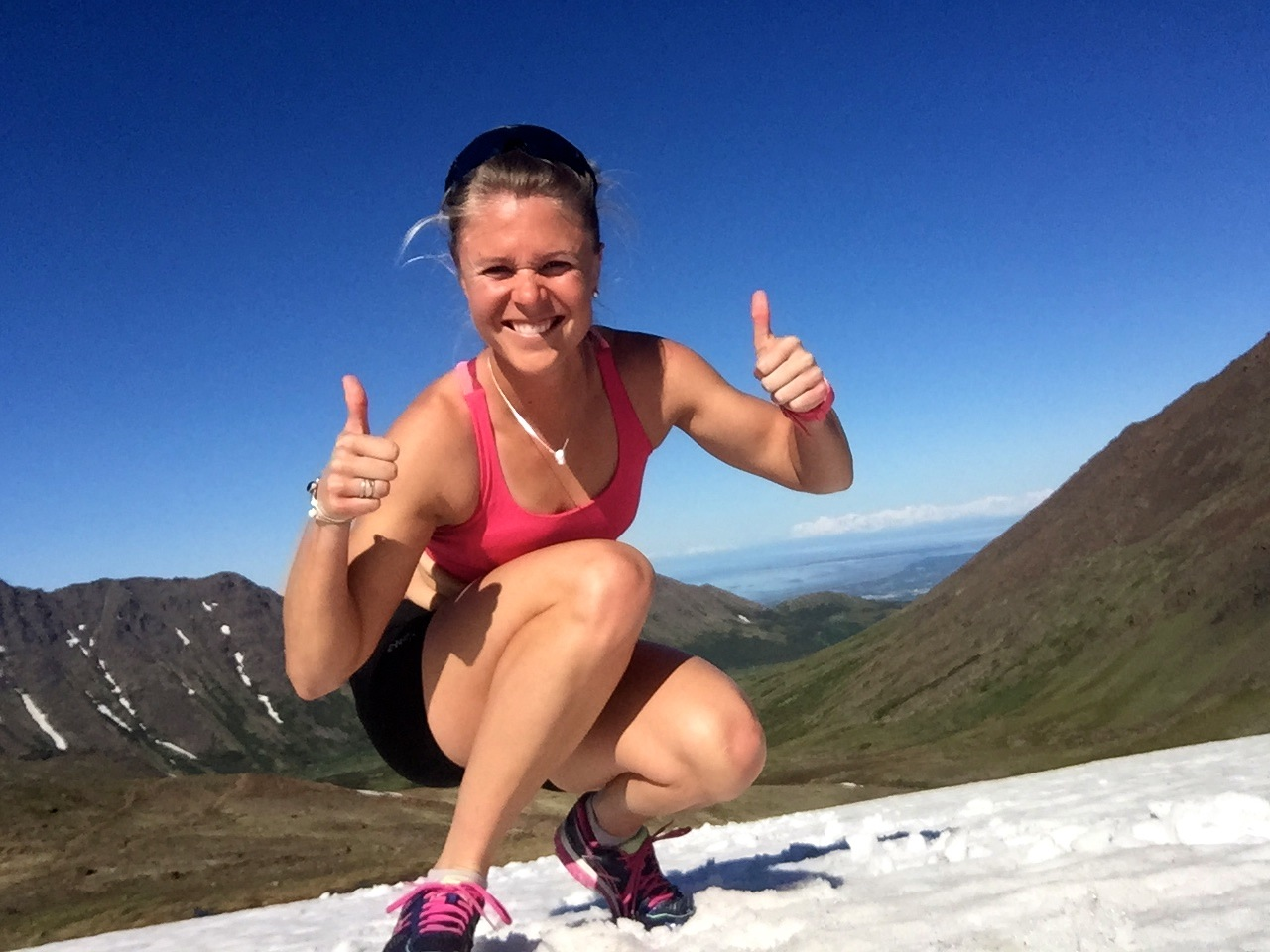 """Pretty stoked I can still find snow so close to town despite the serious """"summer weather""""."""