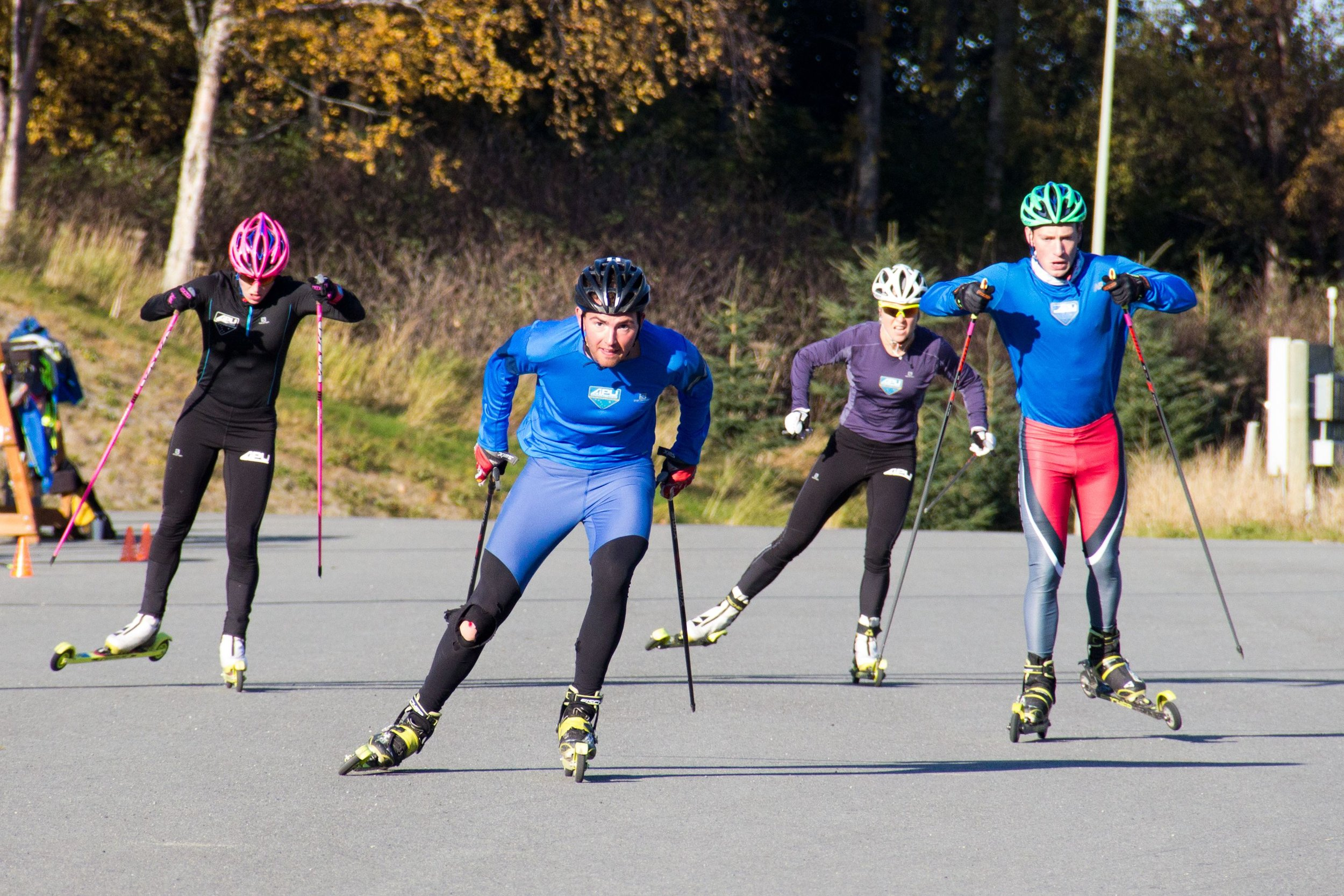 Chasing the boys during a sprint TT. Faster skis makes for a fun challenge for both of us! (Eric Packer photo)