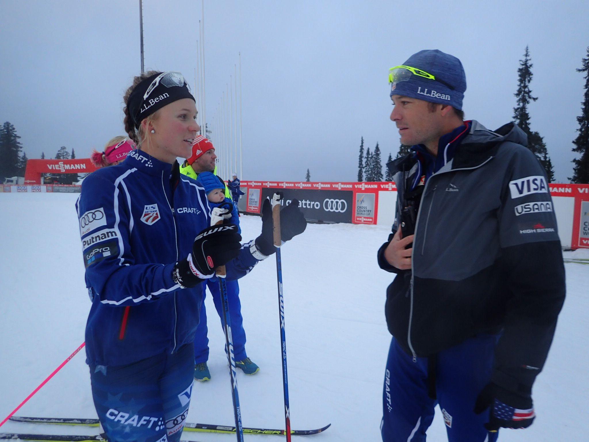 Talking strategy with women's coach, Matt Whitcomb. (Noah Hoffman photo).