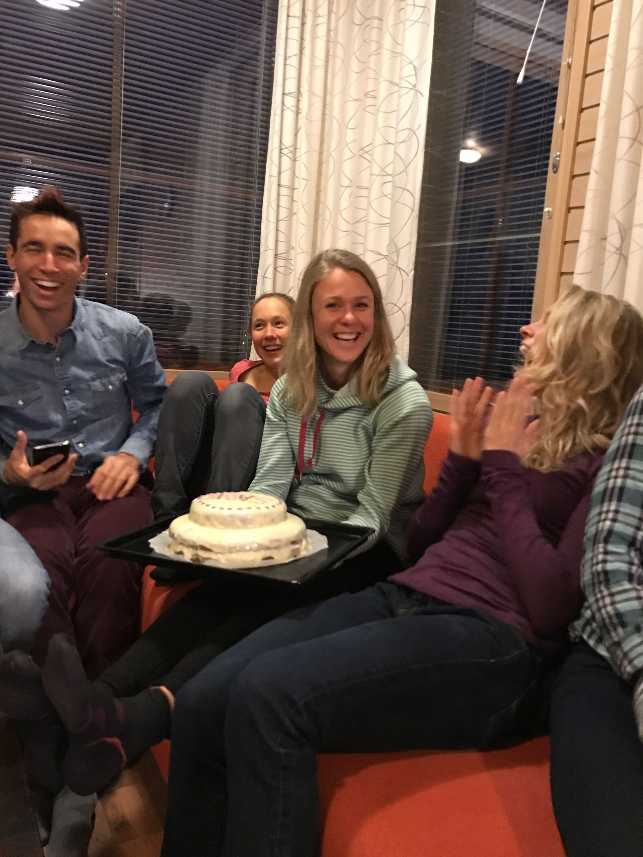 Celebrating my 27th birthday with my teammates and this wonderfully delicious cake Caitlin Patterson made me in Finland.