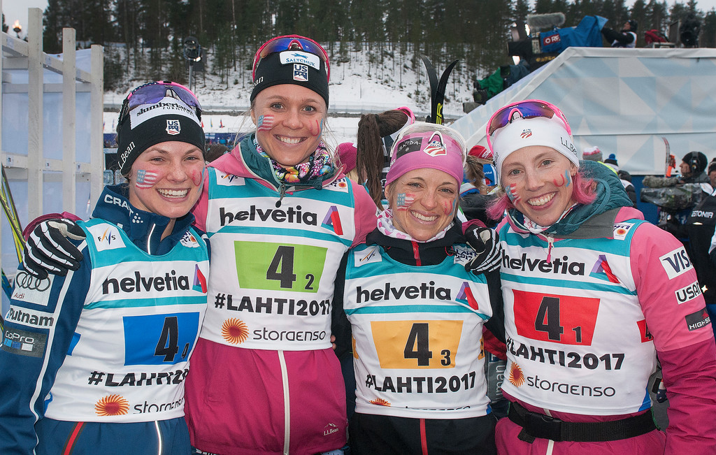 These girls are coming back for more!! World Champs relay team. (Tom Kelly photo)