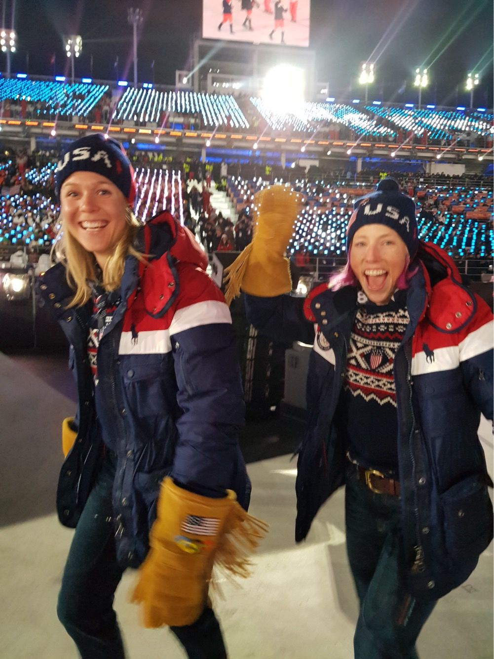 Kikkan and I walking into my very first Opening Ceremonies. (Noah Hoffman photo)