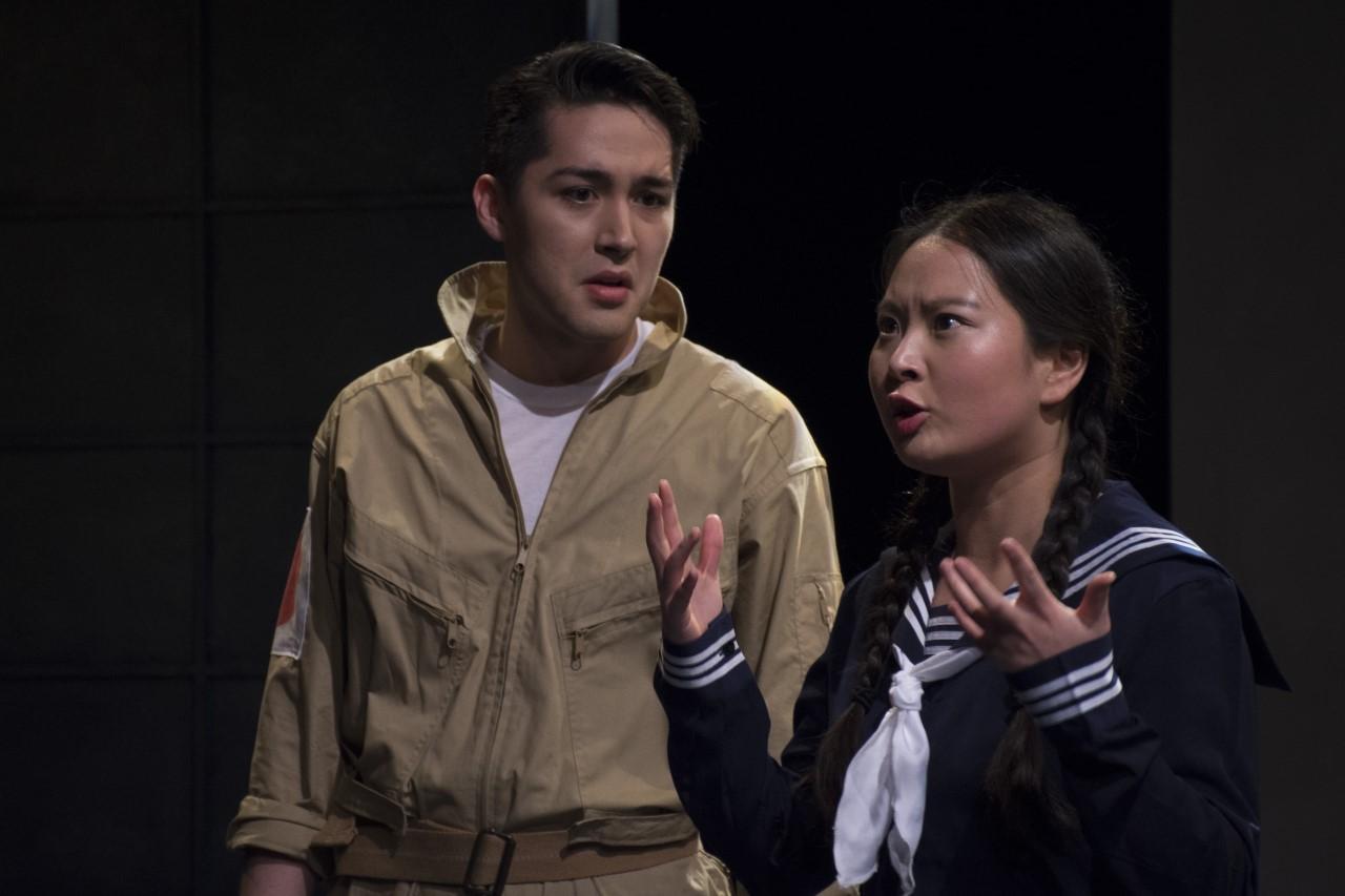 Josh Kenji as a pilot and Mi Kang as a girl in the Nadeshiko Unit in Keiko Green's  Nadeshiko.  Photo by John Cornicello.