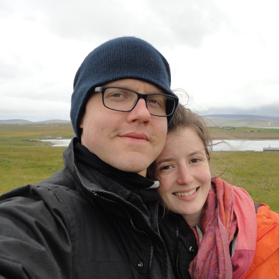 Michael and Anne on honeymoon in Orkney in 2017.