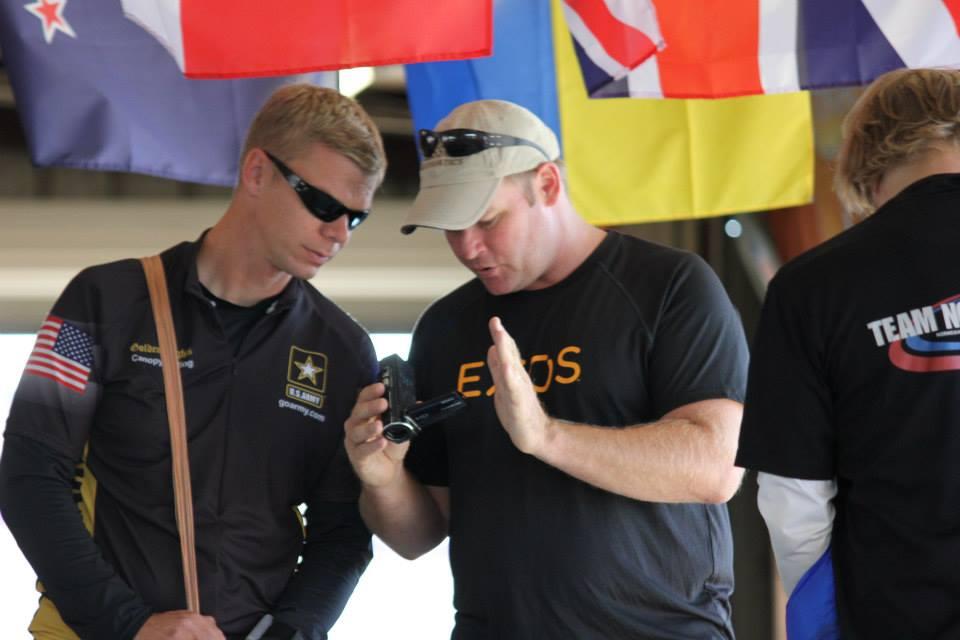 Coaching former teammate, 2 time U.S. National team member and 2011 U.S. National Advanced Champion, SFC Joe Abeln of the U.S. Army Parachute Team.