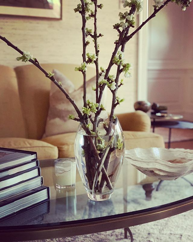 Wishing everyone a wonderful May ✨ #blossoms #spring #lillianaugust #crystal #baker #onyx #philipjeffries #cloudydayserenity #interiordesign #wellnessdecor #simple #lovewhatido #grasscloth #homeiswheretheheartis