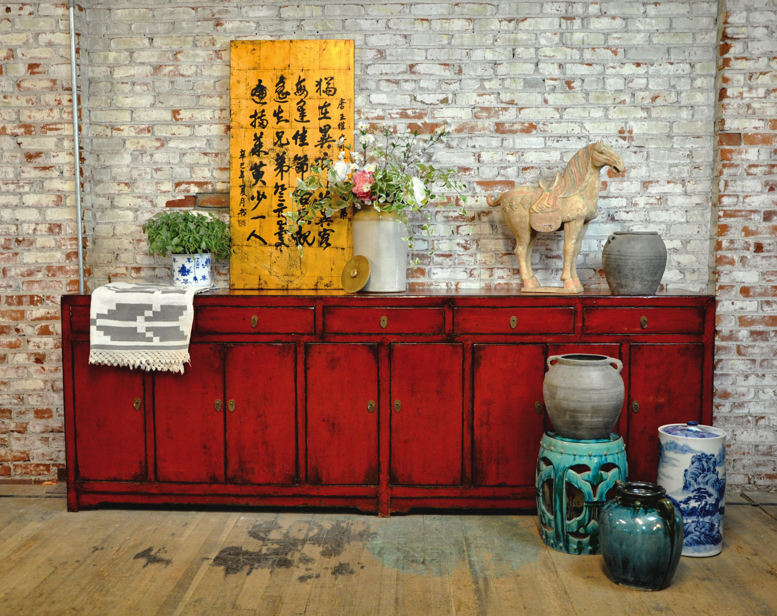 Asia America Red Oversized Buffet Cabinet