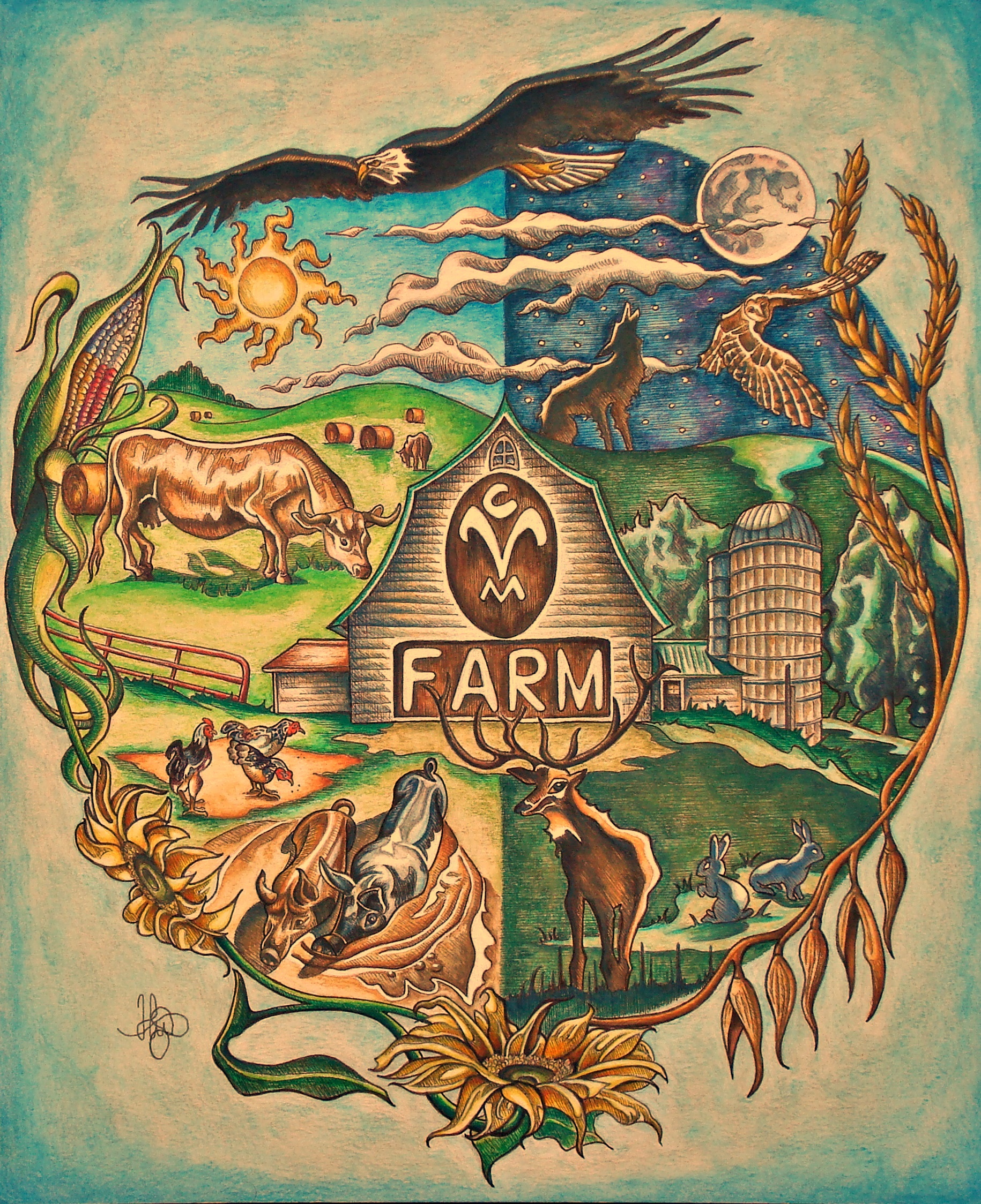 Artwork by Michael Hoet. CVM farm and wild life illustrated. Created with India ink, sepia and watercolor pencil.