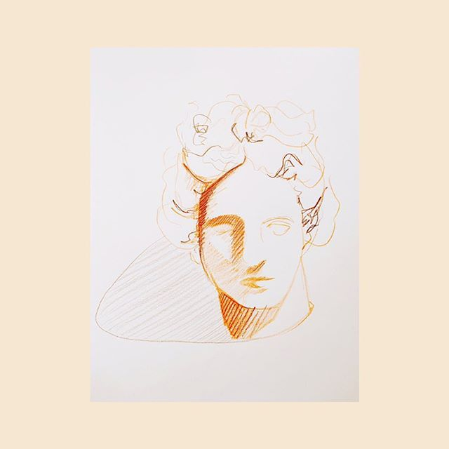 An historically significant bust I found on pinterest . . . .  #sketchbook #sketch #drawing #illustration #watercolour #sketchbooktour #inkdrawing #artwork #gouache #linedrawing #artist #pastels #oilpastels #pencildrawing #oilpastel #pencil