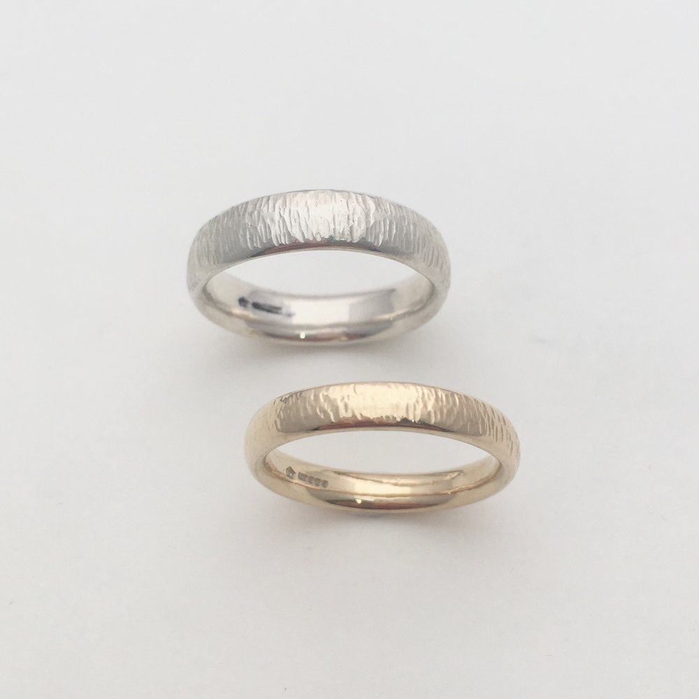 Constance Isobel Gold and Silver textured wedding rings .jpeg