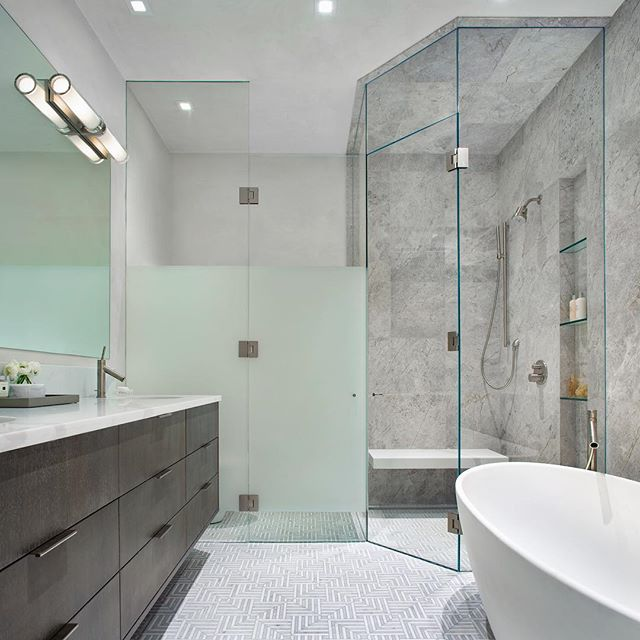 Master bathroom dreams 📷 @brent_moss_photography . . . . . #aspen #aspencolorado #interiors #interiordesign #ginaturchininteriors #bathroom #masterbath #marble #glass #glassshower