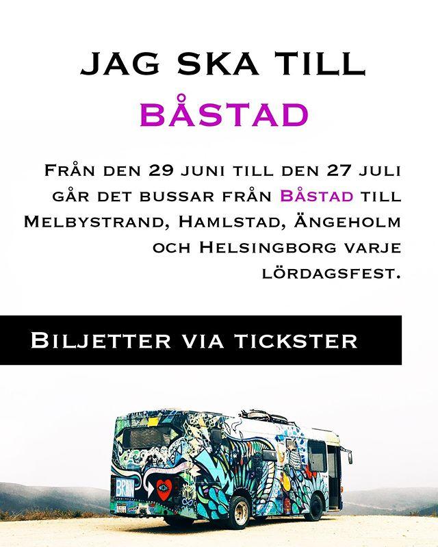 BUSSAR VIA TICKSTER EFTER VARJE LÖRDAGSFEST FRAM TILLS 27 juli.  Länk finns i bio till biljetter för denna lördagen💘🥂🕺🏻🔥❤️ Från busstationen vid ICA 03.20 till  Ängelholm - Polishuset  Helsingborg - Stortorget  Melbystrand - Tre laxar  Halmstad - Regionbussterminalen 🚌🔥💘 Hemresan är löst😍