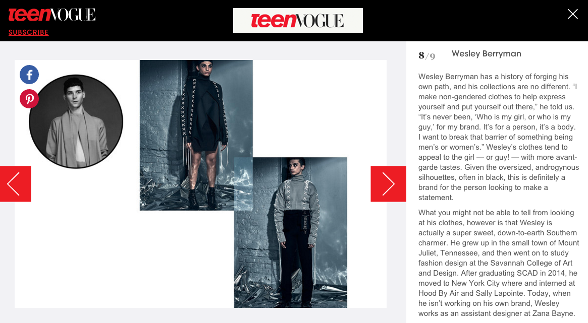 "Wesley Berryman named one of the ""7 Coolest Designers You Need to Know Now"" by Teen Vogue"