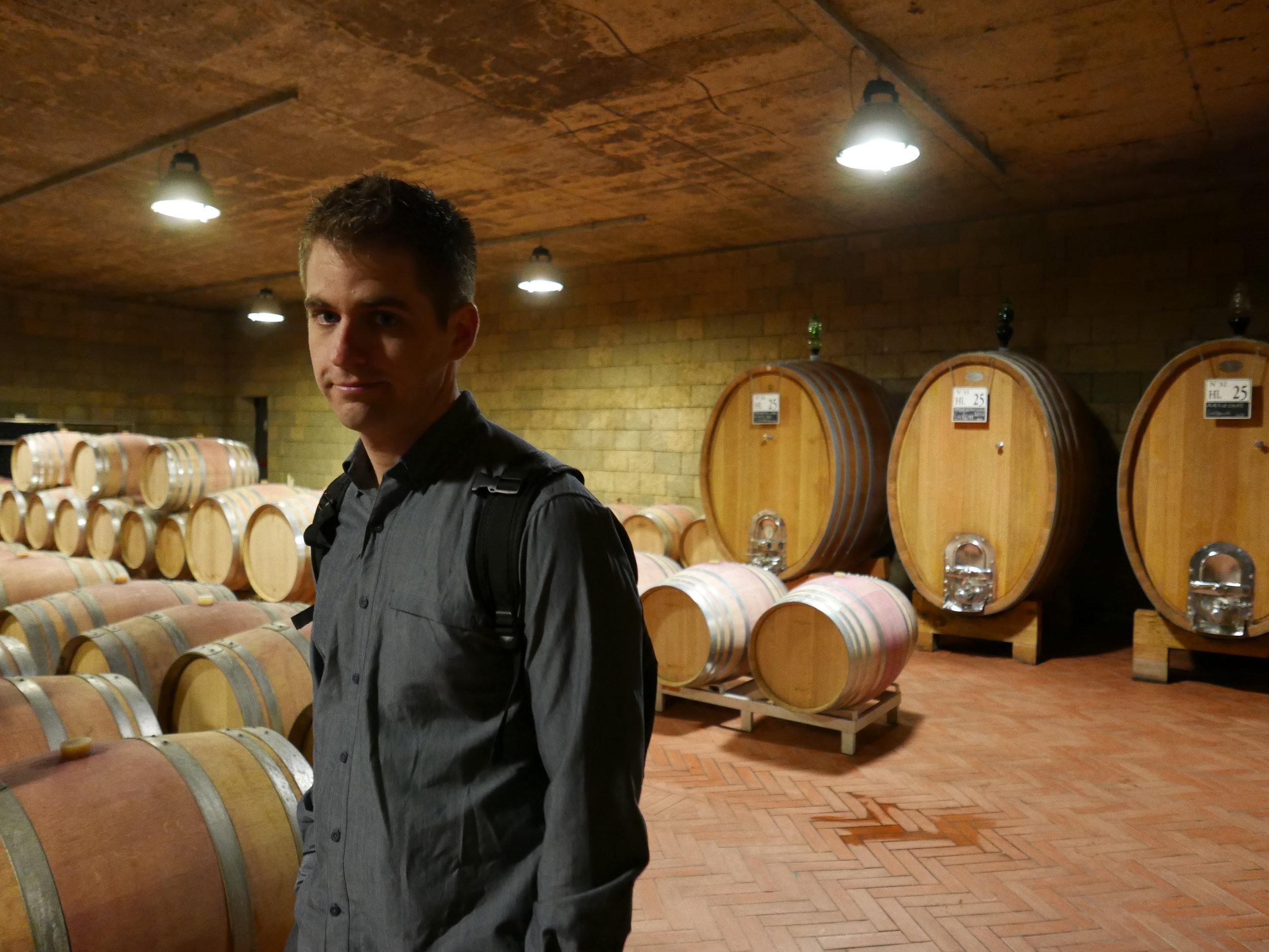The wine is aged in various barrels.