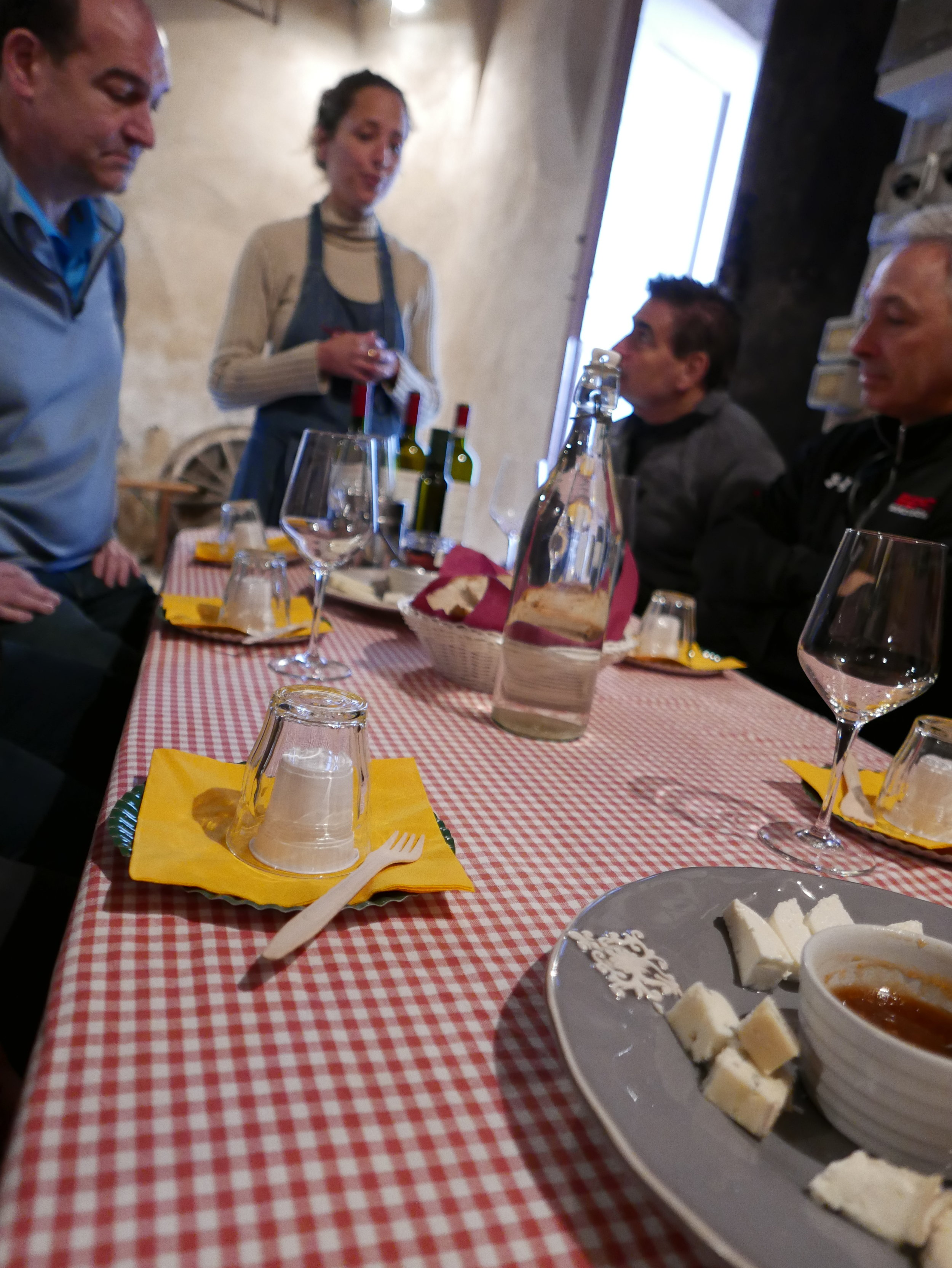 We were invited into an underground cellar to taste wine, sheep cheese, and olive oil -- all made at the winery. Salute!
