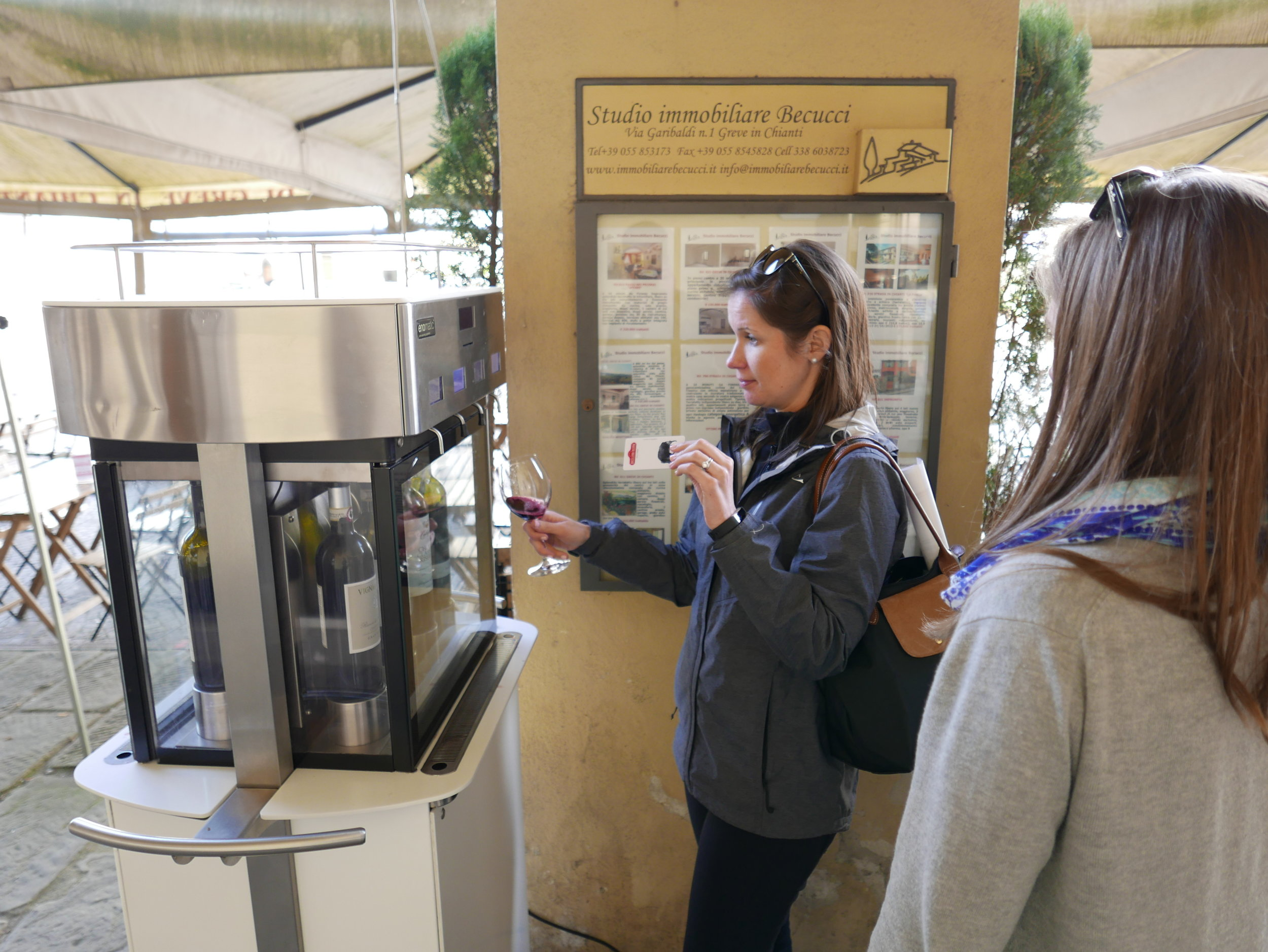 On our way back to Florence, we stopped in Greve in Chianti, where we were brought back to 2016 with an automatic wine tasting booth.