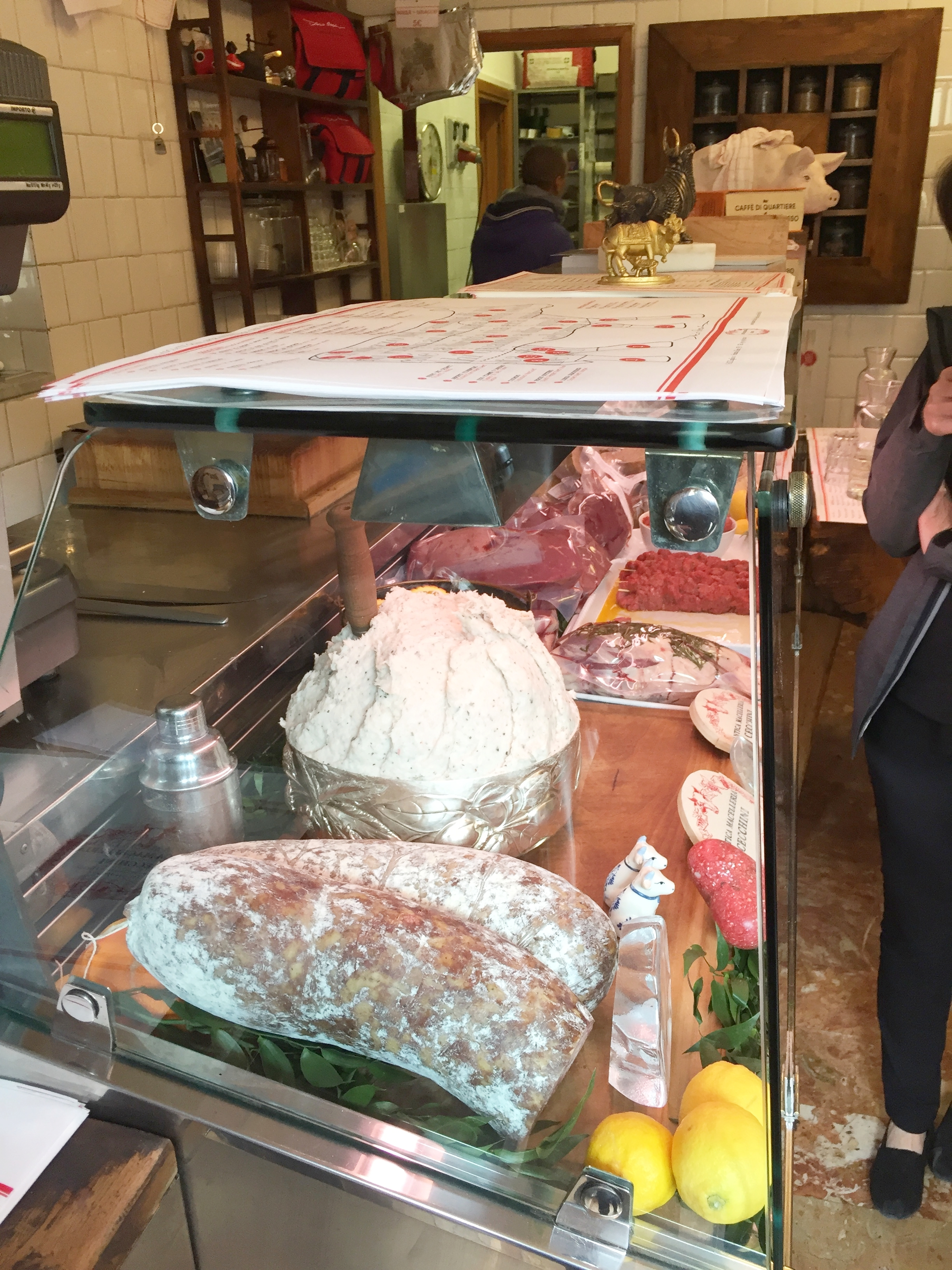 We were welcomed into the deli with a glass of wine, and a buffet of foods to try. This place takes meat to a whole new level. Case in point: that mound of white stuff? Lard. Served on toast.