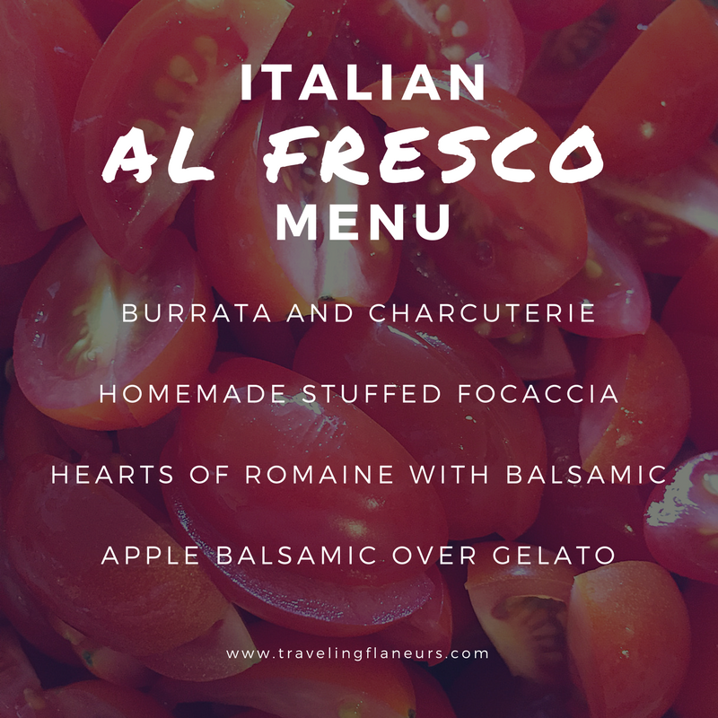 Italian al fresco menu burrata, charcuterie, focaccia, salad, apple balsamic over gelato