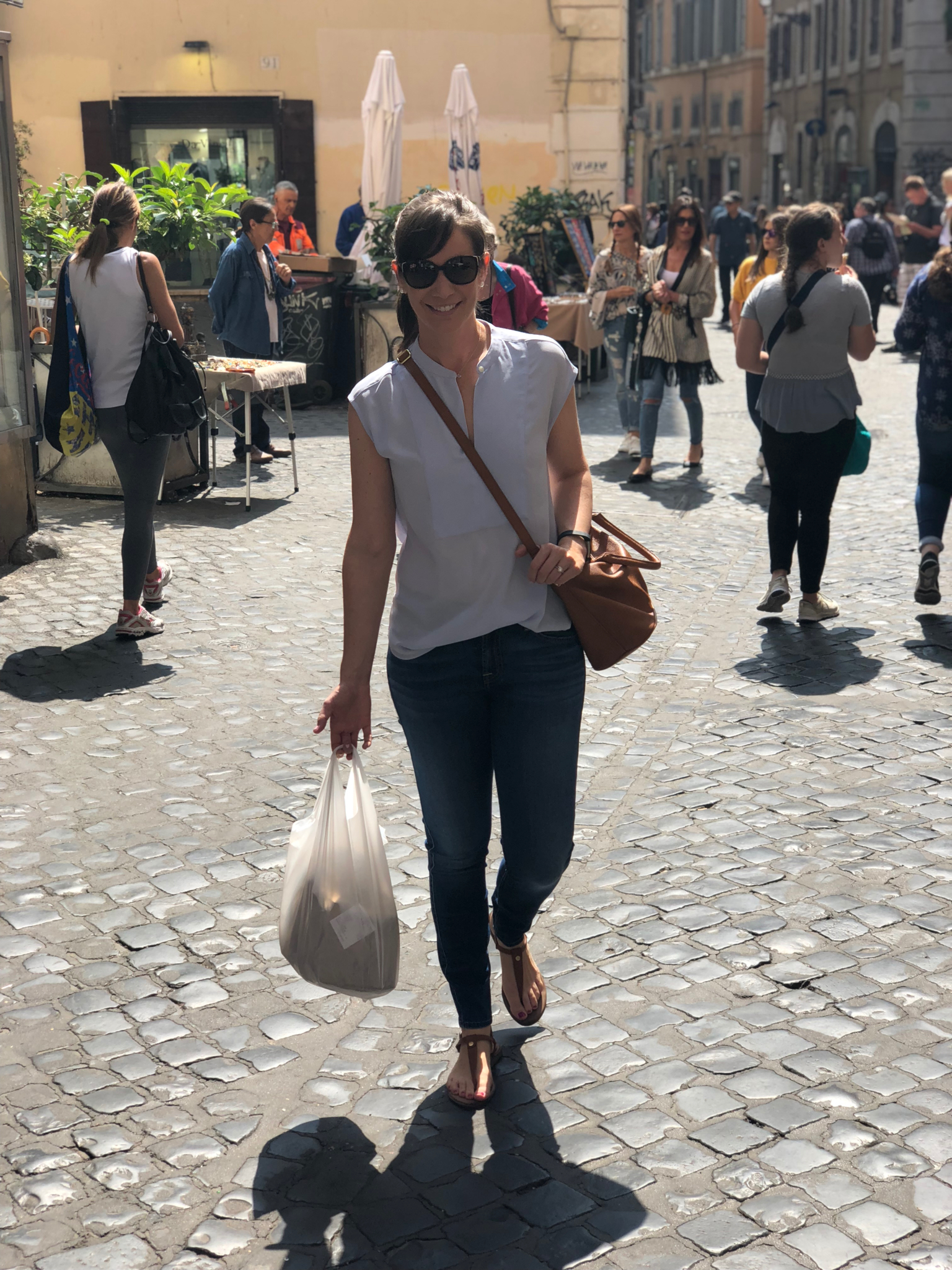 Heading home from the Campo de' Fiori market with fresh fruit!