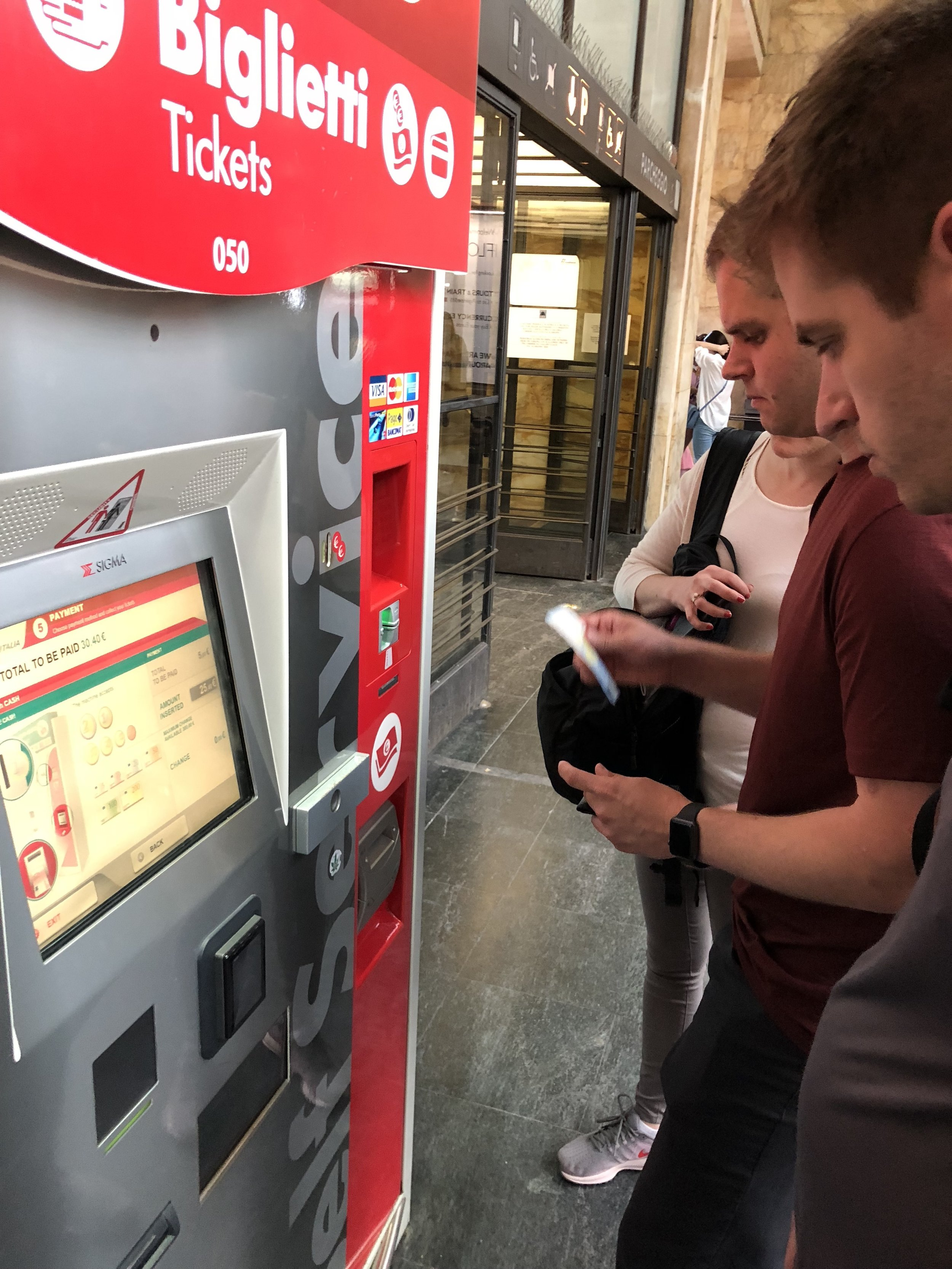 Self-service ticket kiosk at Florence SMN train station