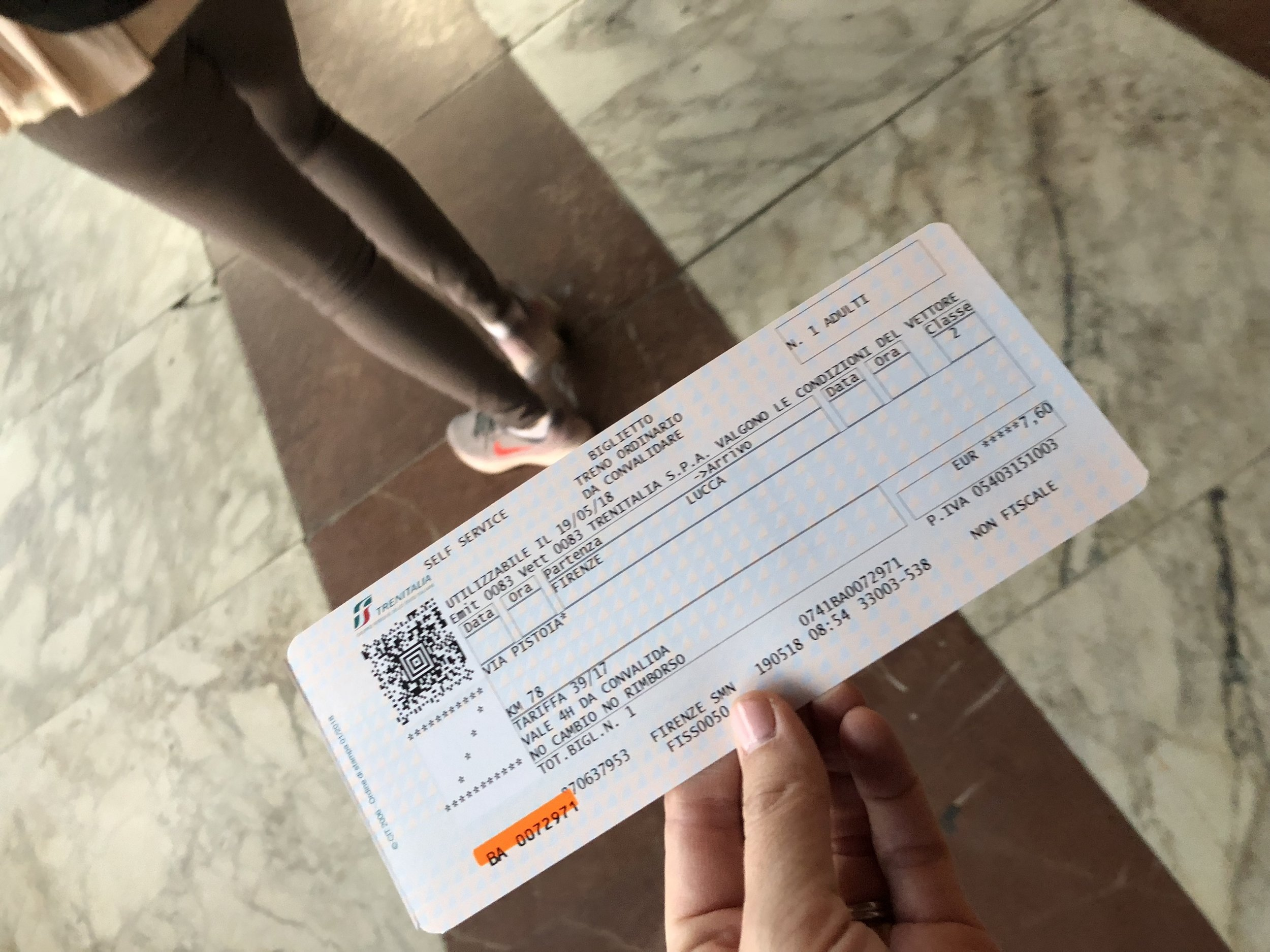 Train tickets for a trip to Lucca