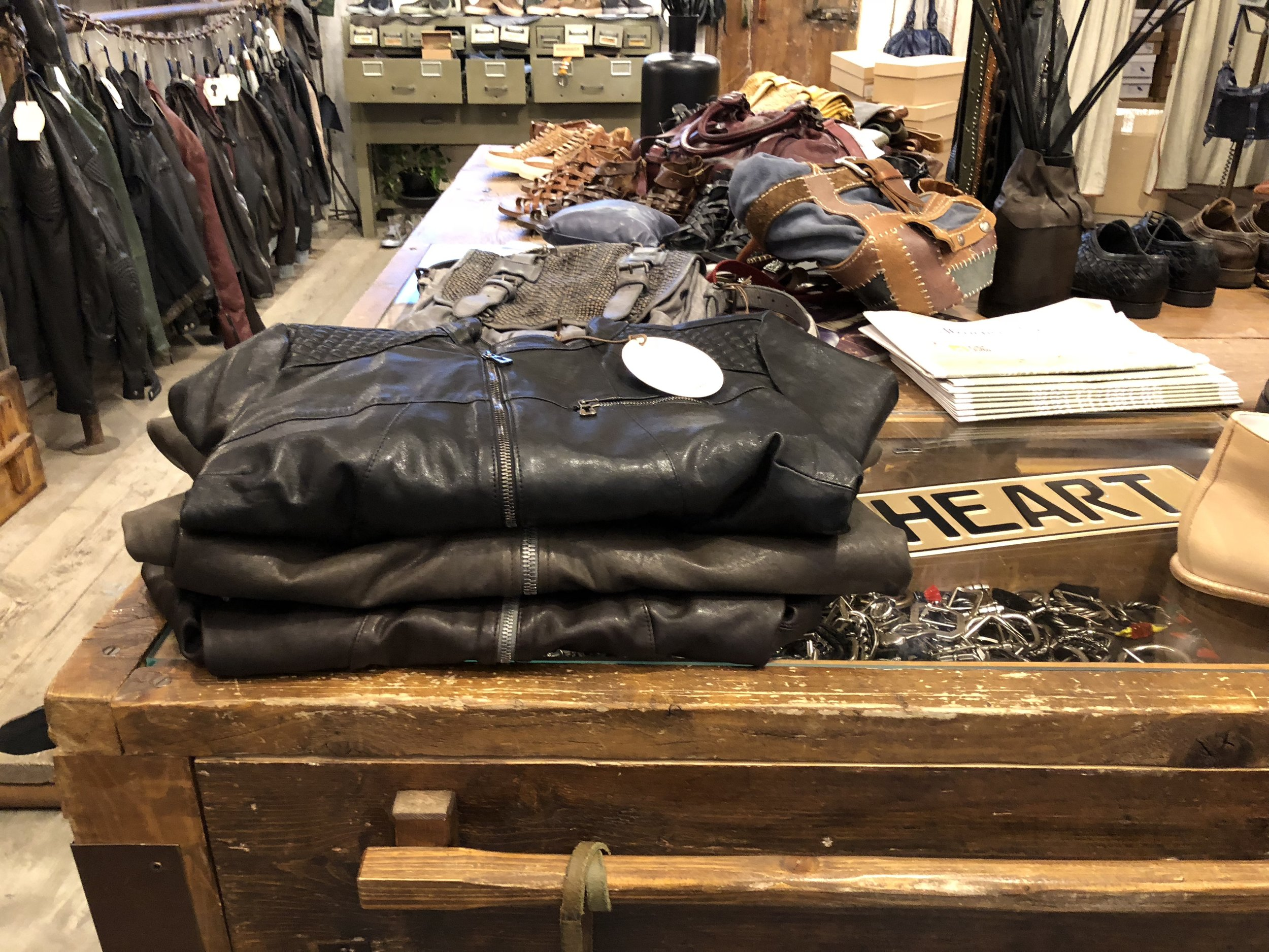 Our pile of leather jackets, ready to go at Ben Heart