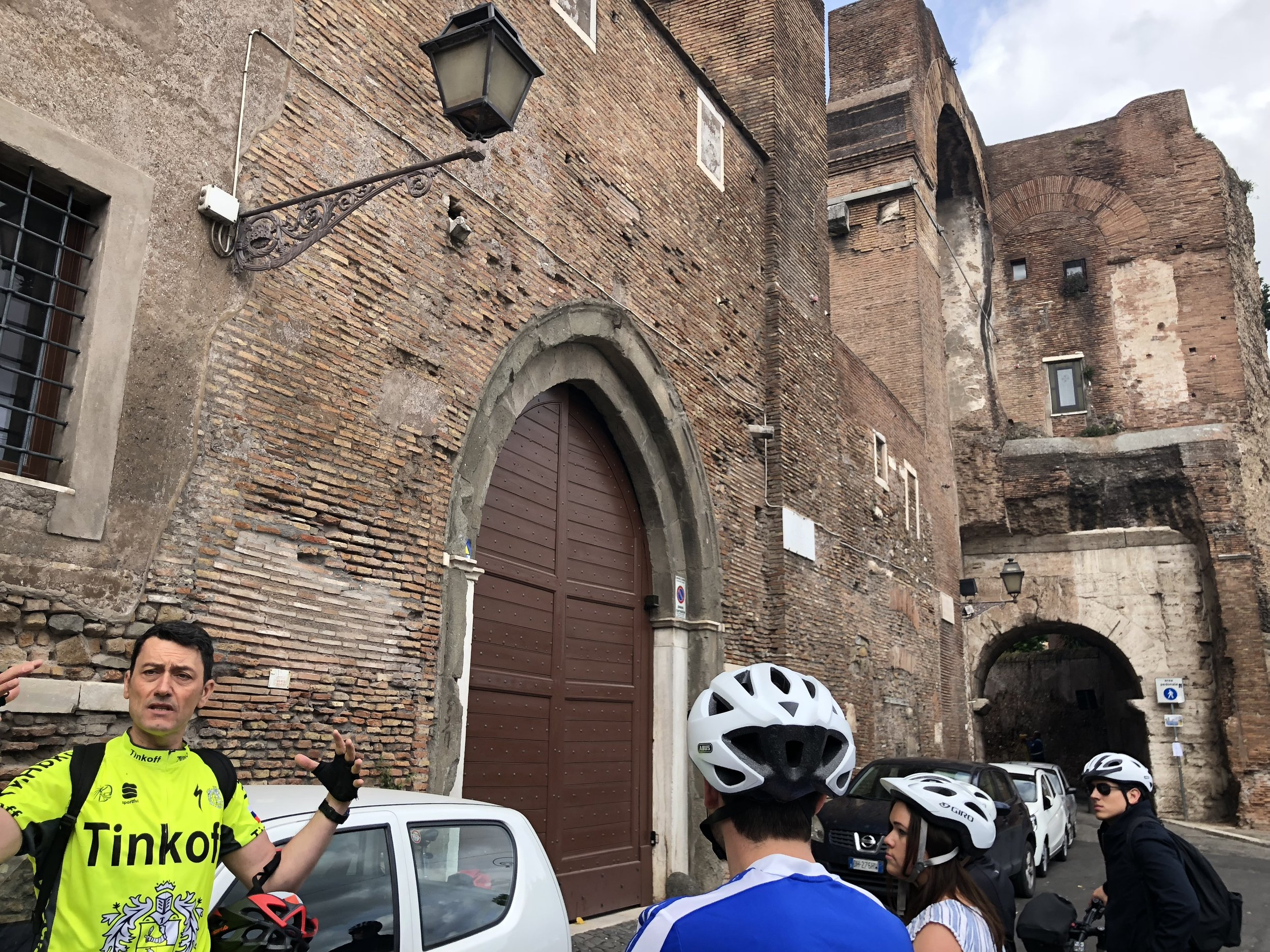 First stop on the bike tour: one of the seven hills of Rome.