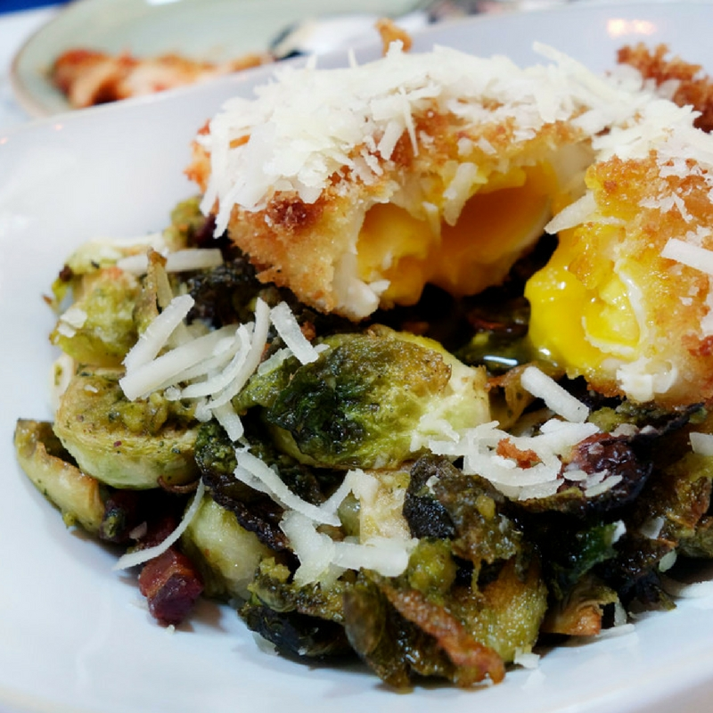 The Brussel Sprouts are to die for! Cilantro Pistachio Pesto, Smoked Bacon, Crispy Egg in the middle and Pecorino Cheese! YUMMMM I'm so Hungry right now!
