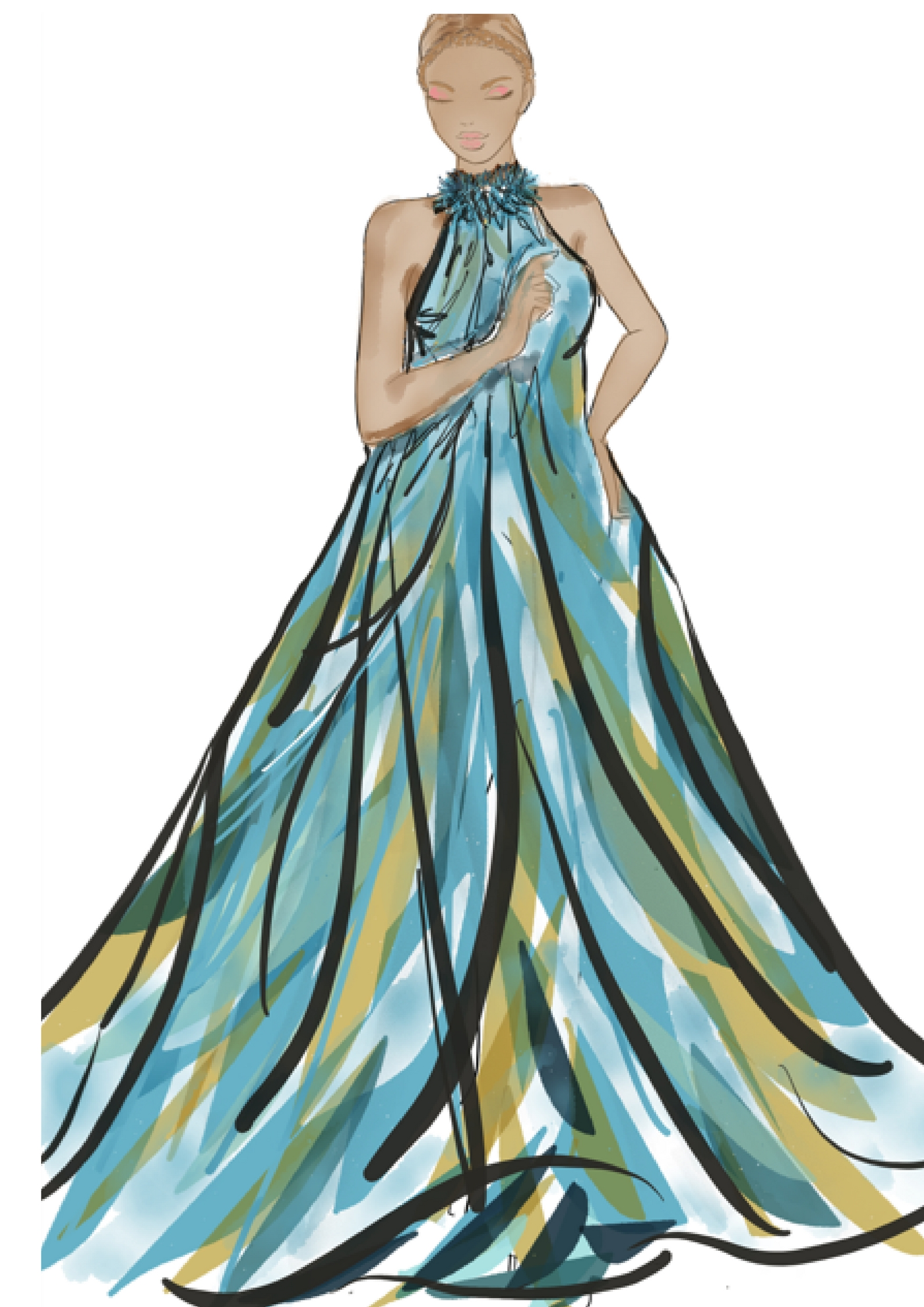 My original sketch was a long floor length full dress but due to the limited amount of lace fabric I had to work with I decided to alter the design. Oh and I'm no illustrator but I get by! LOL