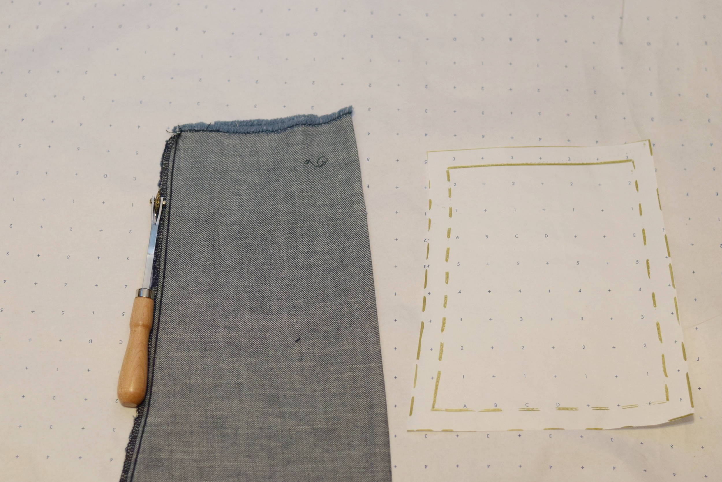 I turned the sleeve inside out and traced the bottom half out onto pattern paper using my tracing wheel. After tracing it out I added seam allowance and cut the pattern piece on the fold.