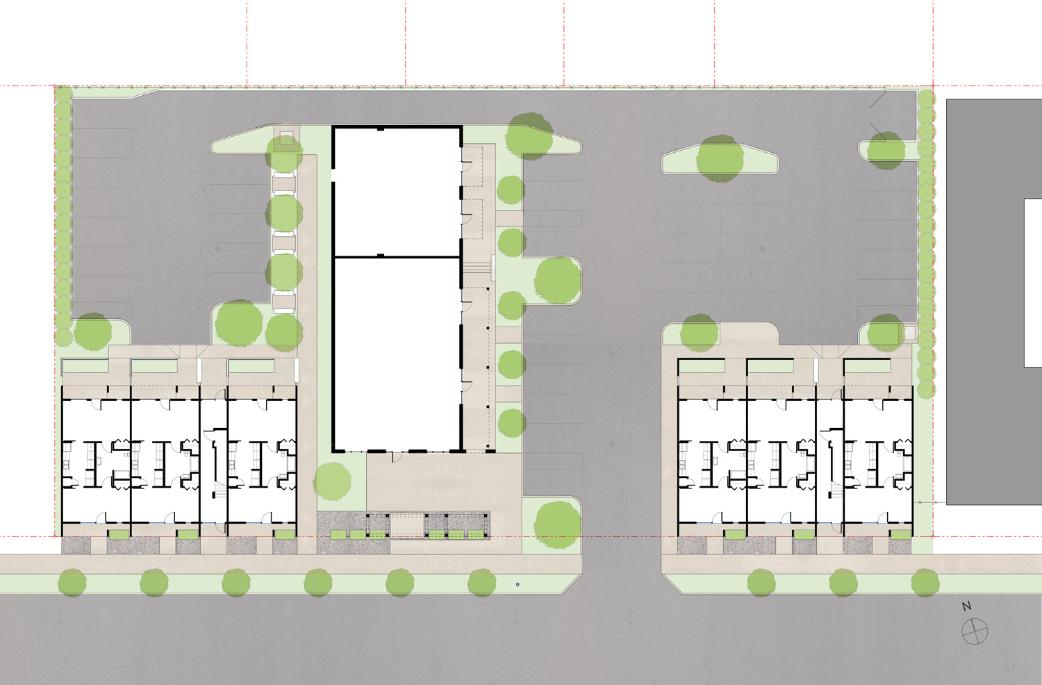 sculpture flats site plan. The former mr.t's interstate tire is in the middle and is flanked by new residential spaces.
