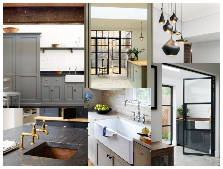 DeVol Cabinetry,  Rohl  Farmhouse Sinks, Tom Dixon Black/Brass lighting, Perrin & Rowe faucets and  Steel and Glass Doors  have provided inspiration for this British-Industrial Kitchen Design.